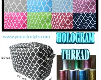 Large makeup bag with hologram thread embroidery! Beautifully detailed font, customized with one name