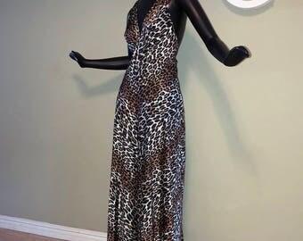 60s Vanity Fair Leopard Rockabilly Jumpsuit Vintage Gown Nightie Sexy Night Gown 1960s Cheetah Animal Print Palazzo Pants Onesie Romper Sm