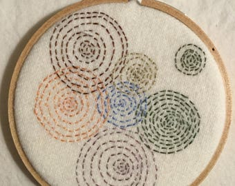 Embroidered circles in straight stitch