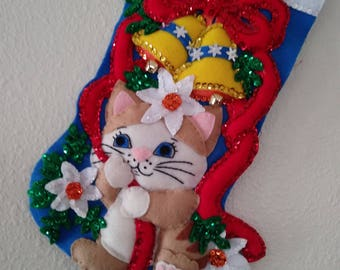Finished Design Works Stocking  CHRISTMAS CAT 18 inches UNIQUE