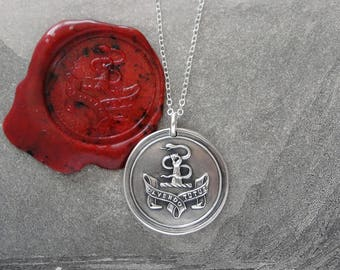 Safety Through Caution Wax Seal Necklace - Latin antique wax seal pendant jewelry Hand Grasping Serpent motto by RQP Studio