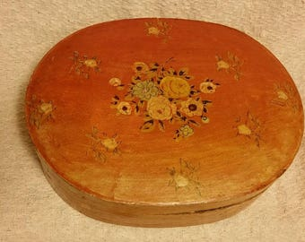 Paper Mache Hand painted Box Decoupage Floral Made in Japan Vintage VALENTINES
