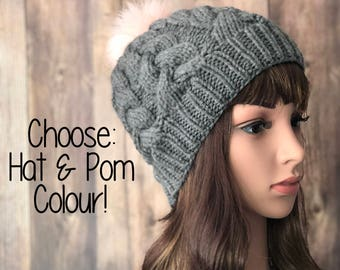 Womans Cable Knit Hat, Pom Pom Hat, Beanie, Winter Accessory, Teen Toque, Teen Beanie, Teen Accessories, Faux Fur Pom Pom Hat