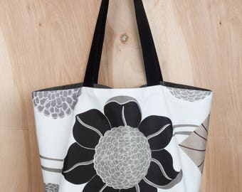Flower Power Tote- Cotton Tote- Black and white- by beckyzimmdesign