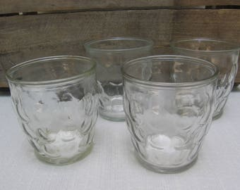 "Anchor Hocking Jelly Jar Juice Glasses, Set of FOUR, Clear Pressed Glass, Bubble Glasses, 3 1/4"" Tall"