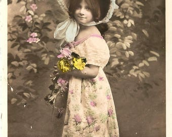 Antique French Postcard Beautiful Little Girl in Big Blue Hat Tinted Photo Post Card from Vintage Paper Attic