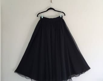 Vintage Black Ballgown Chiffon Skirt S M 27