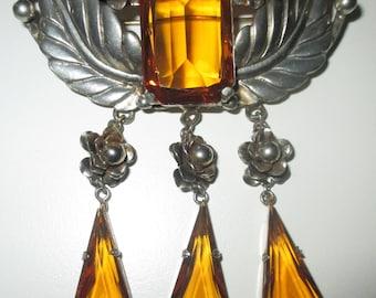 Gorgeous Art Deco Citrine Topaz Czech Glass Large Dangle Brooch