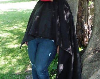 Legendary Fleece Hooded Short Poncho - One Size - Black with Dark Red Inner Hood or Plum with Black Inner Hood