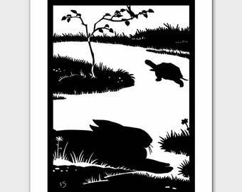 Tortoise and the Hare (Art Deco Room Decor, Boys Girls Nursery Prints) Black and White Silhouette Art --  Fairy Tale Book Illustration