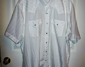 "Vintage Men's White Snap Front Short Sleeve Shirt by Ely Cattleman XL 18"" Neck Only 9 USD"
