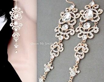 "Long gold chandelier earrings,Gold crystal statement earrings,5"" long~14k gold over Sterling ear wires,Gold Brides earrings -ANGELINA"