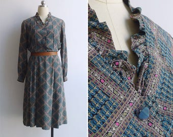 Vintage 80's 'Garden of Squares' Geometric Print Ruffle Neck Dress M or L