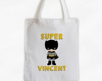 Superhero Canvas Tote Bag - Super Bat Kid Personalized Comic Book Travel Overnight Bag for Boys in Black and Yellow - Reusable Tote (3038)