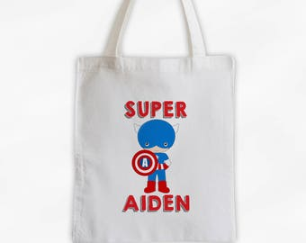 Superhero Canvas Tote Bag - Super America Kid Personalized Comic Book Travel Overnight Bag for Boys in Red and Blue - Reusable Tote (3038)