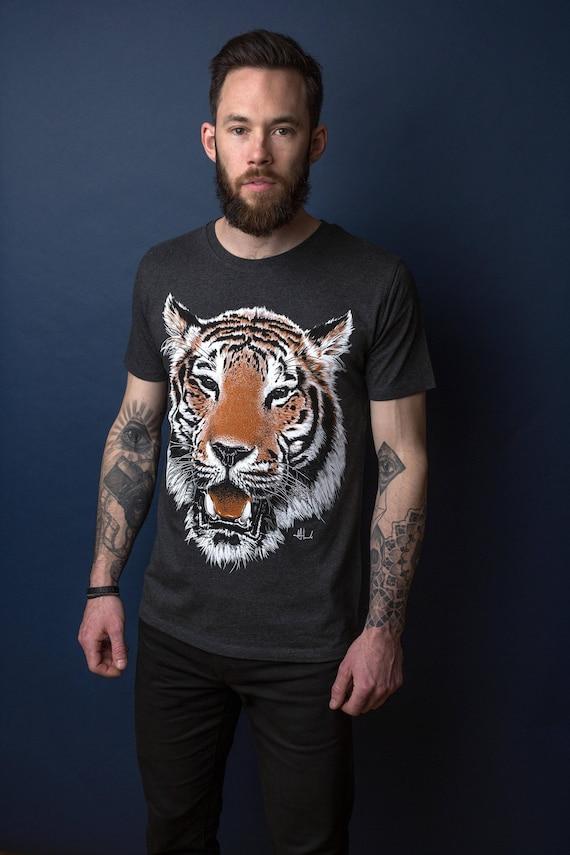 TIGER t shirt graphic tee illustrated t-shirt mens t shirt unisex tiger illustration grey heather tee organic t shirt 6eNcUC