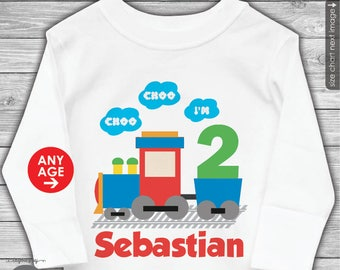 Train Birthday Shirt or Bodysuit - Personalized with ANY Name and ANY AGE
