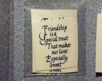 Vintage Water Mount Decals - 3 Different Small Sized Quotes - Friendship Sweet Treasure