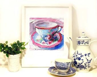 Antique Rose Tea Cup Print,  Tea Cup Oil Painting, Tea cup print, 8 x 8 Print by Jemmas Gems