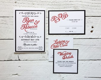 Retro Vintage Wedding Invitation, Stationery Set, Wedding Suite, Invite Response Details, Invitation Set DEPOSIT