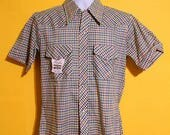 Vintage 70s Mens Plaid Pearl Snap Hipster Western Shirt Size Small