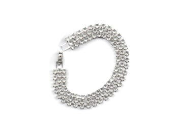 Super white and sparkly crystal clear rhinestone bracelet, just the right bling for wedding, Christmas, formal, 7-1/4 inches, 180mm