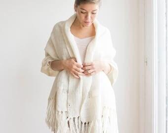 Lightweight pashmina scarf, Shawl for Bridesmaid gift, Oversized scarf wrap, Fringe wrap sweater, White Soft merino wool,