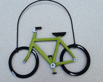 Bicycle Ornament--Lime Green/Party Favor/Gift Tag -- OV26