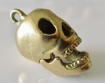 9ct Gold Skull with Moving Jaw Charm or Pendant