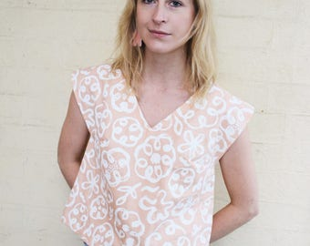Bloom Top // handmade from linen & featuring a screenprinted textile design - made in Melbourne.