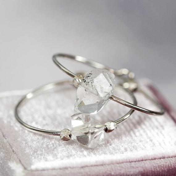Herkimer Diamond Earrings - Raw Crystal Hoop Earrings