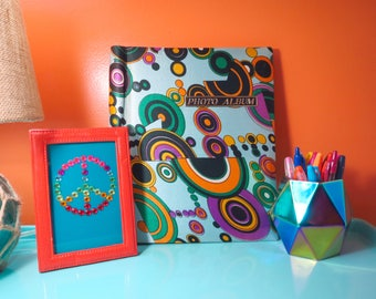 Vintage 1970s Retro Groovy MOD Psychedelic Pucci Hippie Blue Photo Album Guest Book Reunion Notebook