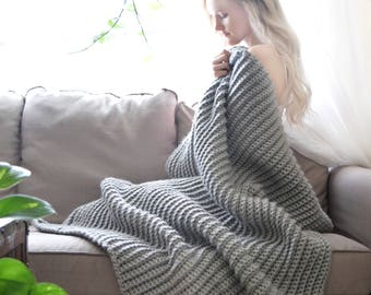 Chunky Knit Throw Blanket, Grey Knit Blanket, Crochet Afghan, Ribbed Knit Textured Throw / Home Decor Throw Blanket Cozy Afghan Hygge Throw