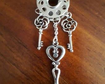 Triple Key Love. Steampunk inspired unique metal pendant