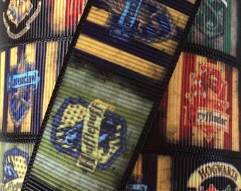 1 Inch Grosgrain Ribbon - Printed Grosgrain Ribbon - Harry Potter Houses Ribbon - Ribbon By The Yard - Ribbon Supplies - Hogwarts Ribbon