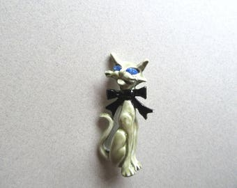 1960s Siamese Cat Brooch Pin Grumpy Looking Grey Kitty Figural Vintage Costume Jewelry Cats Pet Vet Gift MoonlightMartini