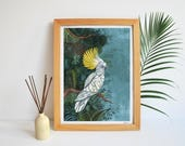 COCKATOO A4 Giclée Print - painting art lifestyle home decor cockatoo birds exotic tropical jungle illustration wall contemporary turquoise