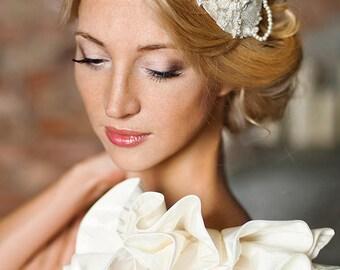 SAMPLE SALE - Bespoke Gold Lace Ivory Bridal Fascinator Wedding Headpiece