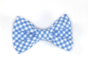 Periwinkle Gingham Bow tie, blue check bow tie, blue and white bow tie, boy's bow tie, blue plaid bow tie, plaid bow tie, gingham bow tie