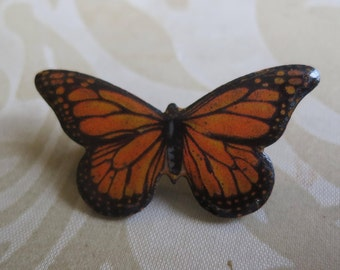 Vintage 70's enamel butterfly brooch pin orange and black nature insect (6298)