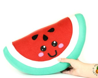 Watermelon Plush Toy, Kawaii Melon Plushie, Watermelon Cushion, Cute Kawaii Watermelon Slice Home Decor, Summer Fruit Decorative Pillow