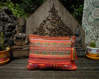 Embroidered Tribal Textile Clutch Purse , Vintage Textile Purse, Vintage Fabric ,
