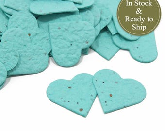 Enchanted Blue Plantable Seed Paper Confetti Hearts - READY-TO-SHIP - Wedding Favors, Bridal Shower Favors & Baby Shower Favors