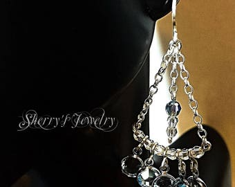 Silver Chandelier earrings, Aqua Marine Chandelier earrings, Blue Chandelier earrings