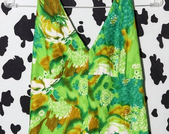 1960's 60's 70's * M * Green machine psychedelic mod floral hippie maxi neon halter dress handmade