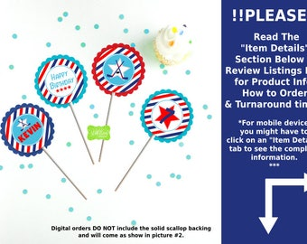 Hockey Cupcake Toppers - Hockey Party Circles - Hockey Toppers - Sports Cupcake Toppers - Digital or Printed Toppers