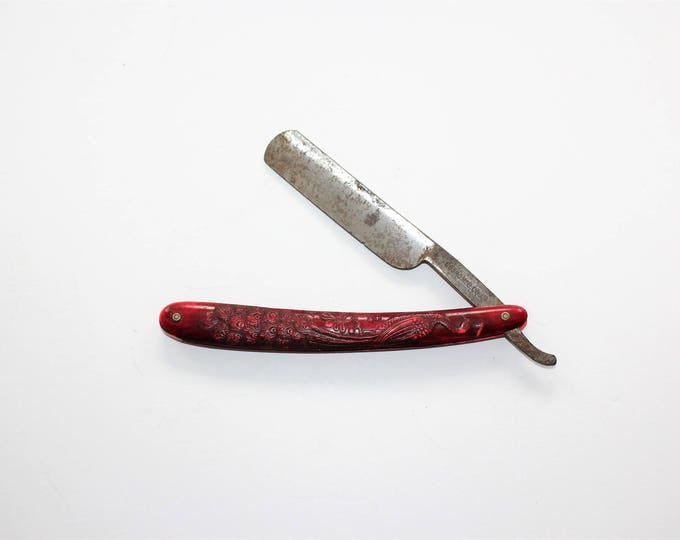 Antique Cosmo Mfg Straight Razor Red Handle with Peacock
