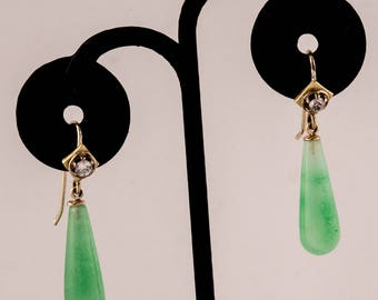 14K Jade Diamond Dangle Earrings