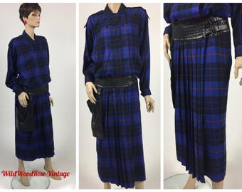 Vintage 1980's Wayne Clark Plaid Dress with Built in Genuine Leather Buckled Belt & Hip Pouch Purse - Blue-Black-Red Wool Blend - 8 to 10