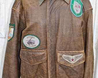 Vintage Men's Distressed Leather Bomber Flight Jacket w/patches, small, Pilot, Aviation, Flying, airplane, flight map,